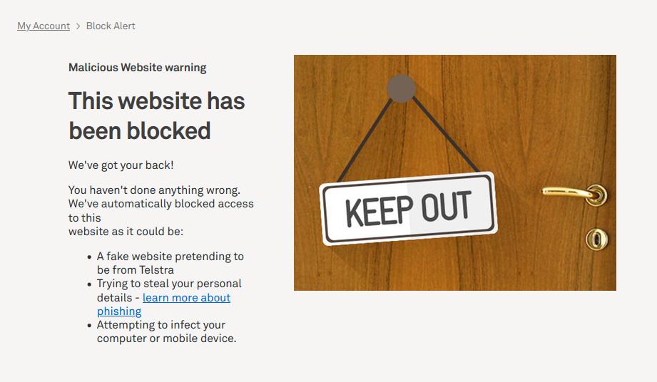 Telstra blocking page